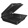 Foam Hinged Lid Container, 9.3w x 3h x 3d, Black, 200/Carton