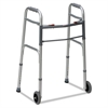 "DMi Two-Button Release Folding Walker with Wheels, Silver/Gray, Aluminum, 32-38""H"