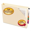 End Tab Jackets w/Reinforced Tabs, Letter, 14pt Manila, 50/Box