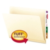 "Tuff Laminated End Tab Folder, 1/2 Cut Tab, 3/4"" Exp, Manila, Letter, 100/BX"