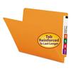 Colored File Folders, Straight Cut, Reinforced End Tab, Letter, Orange, 100/Box