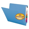 Colored File Folders, Straight Cut, Reinforced End Tab, Letter, Blue, 100/Box