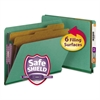 Pressboard End Tab Classification Folders, Letter, Six-Section, Green, 10/Box
