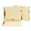 Reinforced End Tab Pocket Folder, Two Fasteners, Letter, Manila, 50/Box