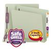 Three Inch Expansion Folder, Two Fasteners, End Tab, Letter, Gray Green, 25/Box