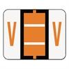 A-Z Color-Coded Bar-Style End Tab Labels, Letter V, Dark Orange, 500/Roll