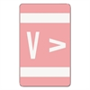 Alpha-Z Color-Coded Second Letter Labels, Letter V, Pink, 100/Pack