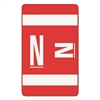 Alpha-Z Color-Coded Second Letter Labels, Letter N, Red, 100/Pack