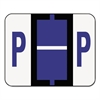 A-Z Color-Coded Bar-Style End Tab Labels, Letter P, Violet, 500/Roll