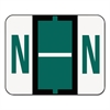 A-Z Color-Coded Bar-Style End Tab Labels, Letter N, Dark Green, 500/Roll