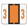 Single Digit End Tab Labels, Number 3, Dark Orange, 500/Roll