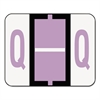 A-Z Color-Coded Bar-Style End Tab Labels, Letter Q, Lavender, 500/Roll