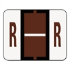 Smead A-Z Color-Coded Bar-Style End Tab Labels, Letter R, Brown, 500/Roll