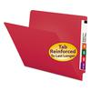 Smead Colored File Folders, Straight Cut, Reinforced End Tab, Letter, Red, 100/Box