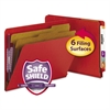 Pressboard End Tab Folders, Letter, Six-Section, Bright Red, 10/Box