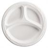 "Lightweight Plastic Dinnerware, 3-Comp, Plate, 9"", Round, White"