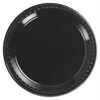 "Heavyweight Plastic Plates, 9"" Diamter, Black, 125/Pack, 4 Packs/CT"