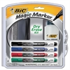 BIC Low Odor and Bold Writing Dry Erase Marker Kit, Bullet Tip, Assorted, 4/Pack