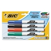 BIC Great Erase Bold Pocket-Style Dry Erase Markers, Fine Tip, Assorted, 4/Pack