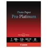 Canon Photo Paper Pro Platinum, High Gloss, 8-1/2 x 11, 80 lb., White, 20 Sheets/Pack