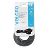 Velcro Reusable Self-Gripping Ties, 1/2 x Eight Inches, Black/Gray, 50 Ties/Pack