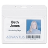 "Advantus PVC-Free Badge Holders, Horizontal, 4"" x 3"", Clear, 50/Pack"