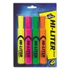 Desk-Style Highlighter, Chisel Tip, Assorted Colors, 4/Set