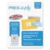 PRES-a-ply Laser Address Labels, 1 x 2 5/8, White, 3000/Box
