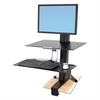 Ergotron WorkFit-S Sit-Stand Workstation w/Worksurface, LCD HD Monitor, Aluminum/Black