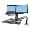 Ergotron WorkFit-A Sit-Stand Workstation w/Worksurface+,Dual LCD Monitors, Aluminum/Black