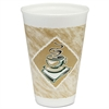 Café G Foam Hot/Cold Cups, 16oz, White w/Brown & Green, 1000/Carton