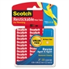 "Scotch Restickable Mounting Tabs, 1/2"" x 1/2"", Clear, 108/Pack"