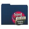 Interior File Folders, 1/3 Cut Top Tab, Letter, Navy, 100/Box