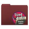 Smead Interior File Folders, 1/3 Cut Top Tab, Letter, Maroon, 100/Box