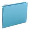 Hanging File Folders, 1/5 Tab, 11 Point Stock, Letter, Aqua, 25/Box