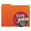 Smead Interior File Folders, 1/3 Cut Top Tab, Letter, Orange, 100/Box