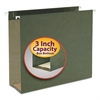 Three Inch Capacity Box Bottom Hanging File Folders, Letter, Green, 25/Box