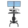 WorkFit-C Sit-Stand Workstation, Dual, 36 1/2 x 32 1/4 x 44 1/2, Black