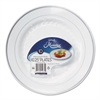 Masterpiece Plastic Plates, 10.25 in, White w/Silver Accents, Round, 120/Carton