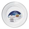 WNA Masterpiece Plastic Plates, 10.25 in, White w/Silver Accents, Round, 120/Carton