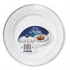 "WNA Masterpiece Plastic Dinnerware, White/Silver, 10 1/4"", 10/Pack"
