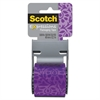 "Scotch Expressions Packaging Tape, 1.88"" x 500"", Purple Floral Pattern"