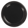 "Chinet Heavyweight Plastic Plates, 7"" Diameter, Black, 125/Pack, 8 Packs/CT"