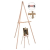 "MasterVision Oak Display Tripod Easel, 60"", Wood/Brass"