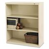 Metal Bookcase, Three-Shelf, 34-1/2w x 13-1/2d x 40h, Putty
