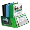 "Mini Protect & Store View Binder w/Round Rings, 8 1/2 x 5 1/2, 1"" Cap, Green"