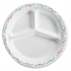 "Molded Fiber Plate, 10 1/4"", 3-Comp, White w/Vine Theme, 500/Carton"