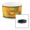 Soup Food Containers w/Vented Lids, Streetside Pattern, 8/10 oz, 250/Carton