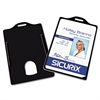 Baumgartens Sicurix Badge/Card Holder, 4 x 2 9/10, Black, 25/Pack