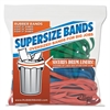 "SuperSz. Rubber Bands, 12"" Red, 14"" Green, 17"" Blue, 1/4""w, 24/Pack"